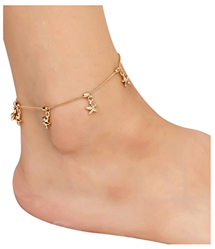 2 PCs Barefoot Sandal Foot Jewelry Starfish Charm Chain Anklet Bracelet, Gold