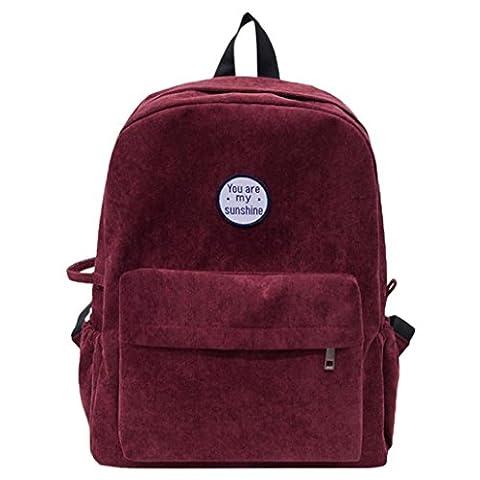 Womail Women Corduroy Student Shoulder Bag School Travel Backpack For Girl (Wine) - Corduroy Womens Shoulder Bag