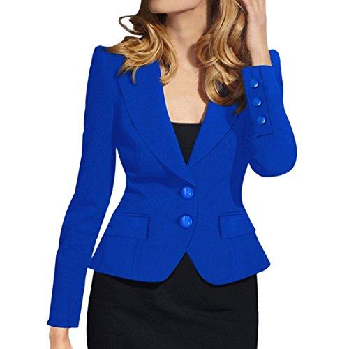 E.JAN1ST Women's Slim Fit Blazer Lapel Collar Two Button Slim Short Cotton Blazer, Royal Blue, TagsizeM=USsize2-4 Fully Lined Blazer
