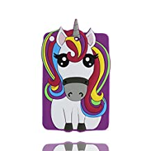 iPad Mini 2 étui, iPad Mini 2 Coque,iPad Mini 2 case. iPad Mini 2 cover,3D Magical Unicorn Pony Animal caoutchouc doux [Shock Proof] case cover pour iPad Mini 2 -Rainbow