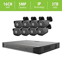 Revo America UltraHD 16 Ch. 3TB HDD IP NVR Video Surveillance System, 8 x 5MP Indoor/Outdoor IP Bullet Cameras (Black Color) - Remote Access via Smart Phone, Tablet, PC & MAC