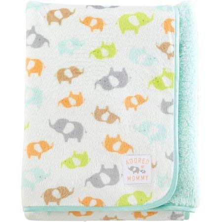 Carters Child Mine - Carter's Child of Mine Adored by Mommy Fleece Baby Blanket, Elephants