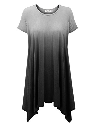 WT1142 Womens Ombre Short Sleeve Oversized Side Panel Tunic Top XL BLACK