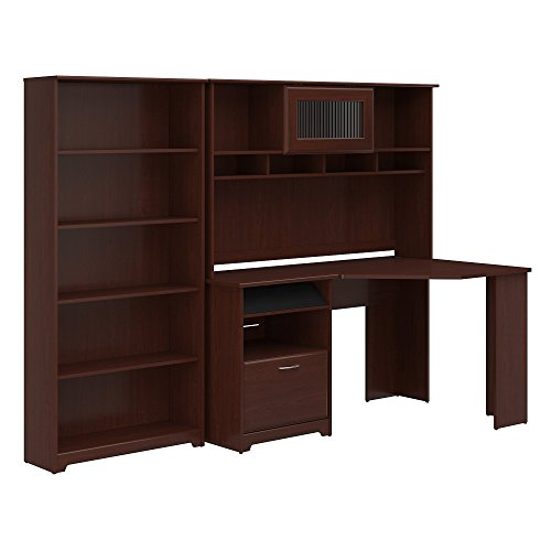 Fluted Cherry Pedestal - Bush Furniture Cabot Corner Desk with Hutch and 5 Shelf Bookcase in Harvest Cherry