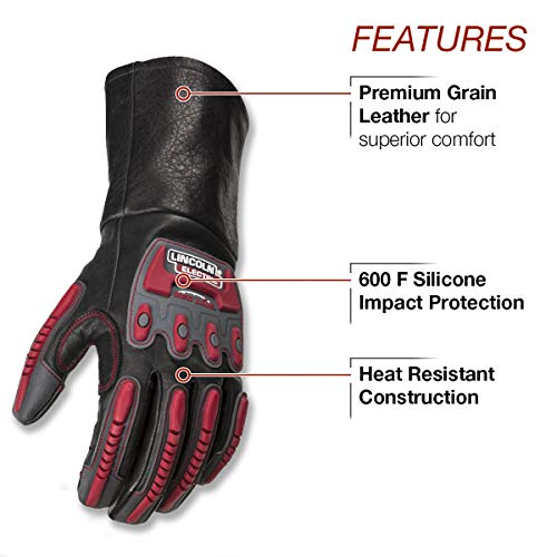 Lincoln Electric Roll Cage Welding/Rigging Gloves | Impact Resistant | Black Grain Leather | by Lincoln Electric (Image #1)