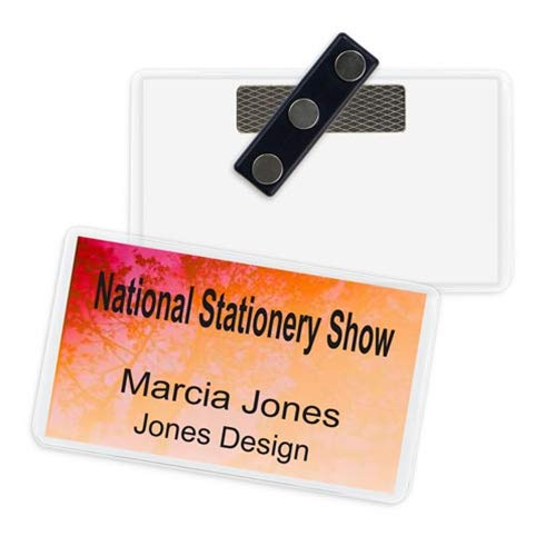 Name Badge Productions - 3.5 x 5 Inch Business Card Holder Badge - Poly Vinyl - Heavy-Duty 3-Touch Magnet - Top Loading - Reusable - Durable- 10 per ()