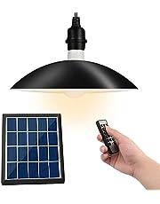 Oświetlenie słoneczne na zewnątrz, Upkey LED Solar Shed Light, Wodoodporna słoneczna lampa wisząca IP65 z kontrolą światła i pilotem, oświetlenie garażu z 3 trybami jasności i 8 ustawieniami czasu, oświetlenie patio