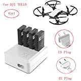 Battery Charger for DJI Tello Drone, Rucan 4in1 Multi Battery Charger Hub RC Intelligent Quick Charging (US plug)