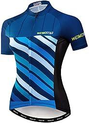 Women's Cycling Jersey Short Sleeve Reflective Tops Breathable Biking Sh