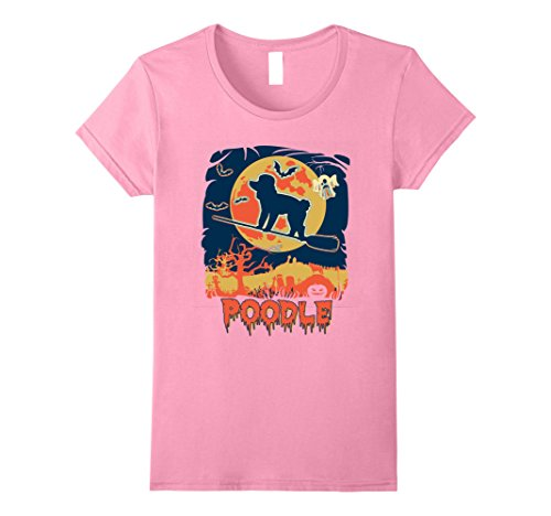 Womens Vintage style poodle Halloween shirt Small (Pink Poodle Dog Halloween Costume)