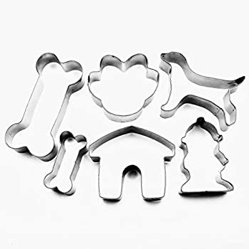 LAWMAN Dog Bone Cookie Cutter Paw Kennel Hydrant Fondant Pastry Biscuit Metal Baking 6 pcs Set