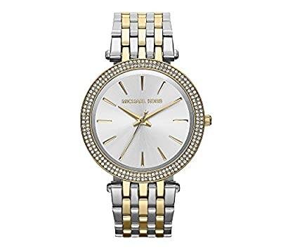 Michael Kors Mid-Size Goldtone/Silvertone Stainless Steel Darci Three-Hand Glitz Watch