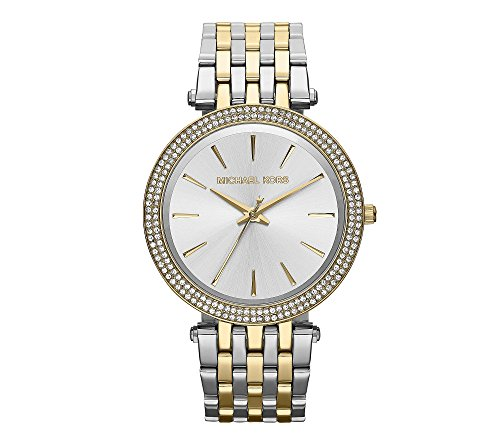 Michael Kors Darci Mid-Size Goldtone And Silvertone Stainless Steel Three-Hand Glitz Watch