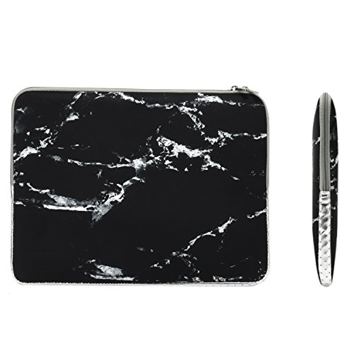 TOP CASE - Marble Pattern Zipper Sleeve Bag Case Compatible All Laptop 13'' 13-inch MacBook Pro without Retina Display/MacBook Air/MacBook Unibody/Ultrabook / Chromebook - Black by TOP CASE