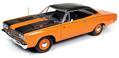 Limited Edition Looney Tunes (1969 Plymouth Road Runner Omaha Orange with Black Stripes and Top 50th Anniversary Looney Tunes Limited Edition to 1002 pieces Worldwide 1/18 Diecast Model Car by Autoworld AMM1131)
