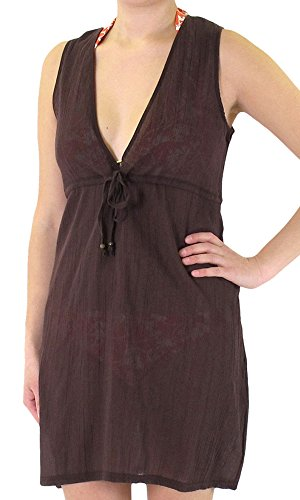Robe Capelli (Capelli New York Ladies Solid Gauze Sleeveless V-Neck Cover Up With Tie Java Brown Large)