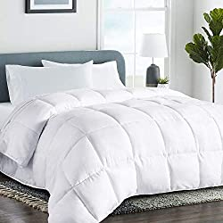 Queen/Full Soft Down Alternative Quilted Comforter Summer Cooling Duvet Insert with Corner Ties Fluffy Lightweight for All Season, Hypoallergenic Reversible Hotel Collection White,88 by 88 inch