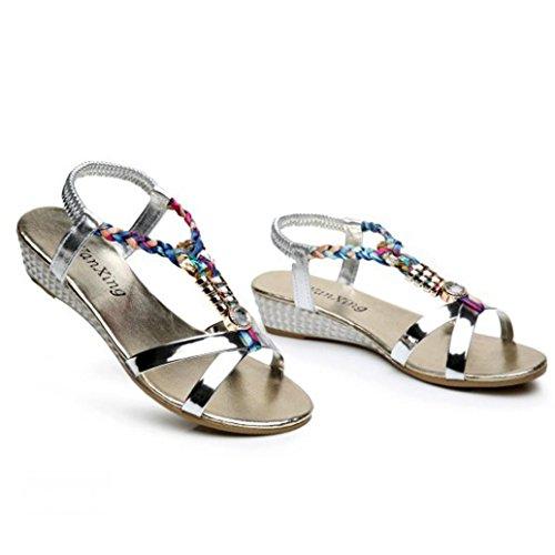 Sandales Familizo Confortables Strass Argent Plage été Femmes Familizo Chaussures de FSZqInwq