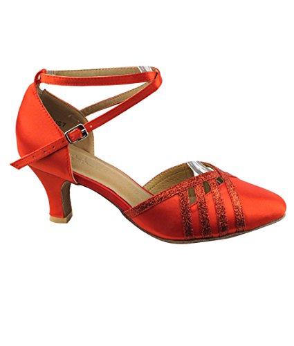 Scarpe Da Ballo Latino Per Ballare Tango Latino Da Sera Per Donna Sera3530 Tacco 2,5 Pollici + Fodera Pieghevole Per Spazzole Rosso Raso E Stardust Rosso