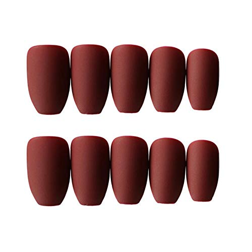 JINDIN 24 Sheet French Matte Fake Nails for Women Acrylic False Nails Coffin Shape Full Cover Finger Nail Tips with medium long design(Wine Red) by JINDIN