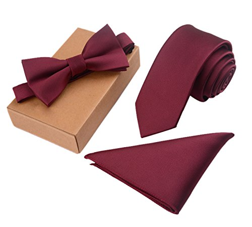 Men's Vintage Solid Color Bow Tie& Handkerchief& Cufflinks Set Men's Polyester Jacquard Necktie Bowtie Pocket Square 3pcs Set Red (Cufflinks Vintage Solid)