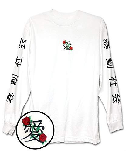 Riot Society Men's Kanji Love Embroidery Long Sleeve Logo T-Shirt - White, Large