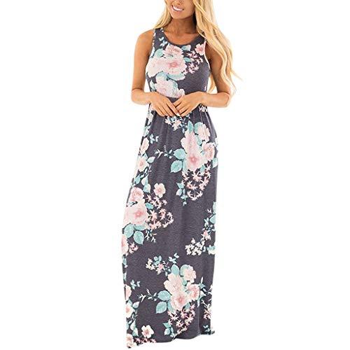 (Women's Maxi Dresses,LuluZanm Sale Ladies Summer Patchwork Print Formal Party Dresses Long Boho Beach Dresses Gray)