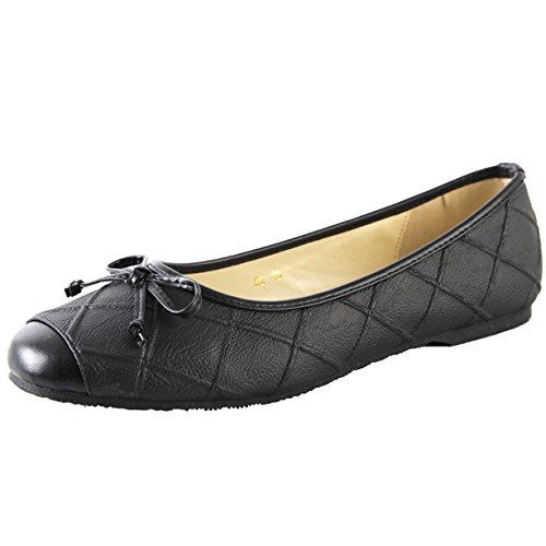 Aisun Womens Comfort Cap Toe Soft Low Cut Driving Go Slip Slip Baller Flat Con Fiocchi Neri