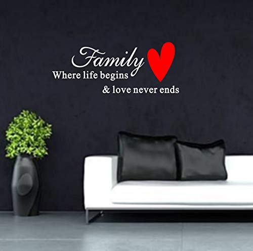 Fymural Family Art Wall Sticker - Family Where Life Begins Letter Wall Quotes for Bedroom Kid Baby Nursery DIY Vinyl Removable Decoration Home Decor 36.2x14.6,White+Red