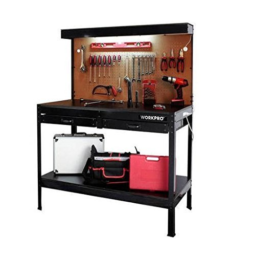 (Garage Workbench with Light Wood Steel Work Bench Tools Table Home Workshop)