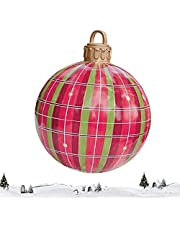 Ruizik Outdoor Christmas Inflatable Decorated Ball, 24 Inch PVC Giant Christmas Inflatable Ball, Xmas Inflatable Balls Christmas Decorations Yard Art Garden Home Patio Decor for Holiday