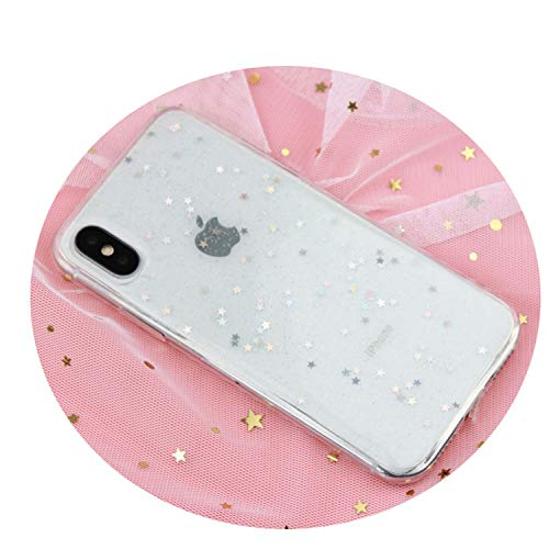 Star Love Heart Sequin Phone Case for iPhone 7 8 X XR XS Max Bling Cover for iPhone 6 6S 7 8 Plus Glitter Clear Soft Funda Star Clear for - Trapper Senior