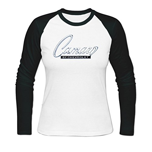 Sadytui Womens Cotton Graphic Chevrolet Camaro Long Baseball T-shirts M (Camaro Graphic Tee)