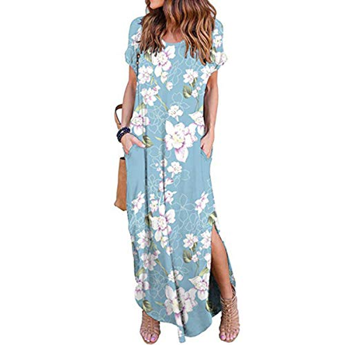 IMBOAZ Women's Casual Loose Long Dress Short Sleeve Floral Print Maxi Dresses with Pockets