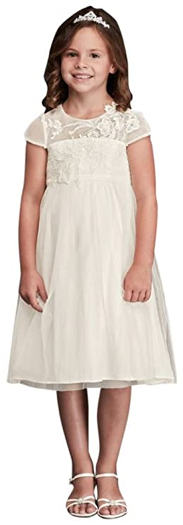d7e06dc70 Amazon.com: Mesh Flower Girl/Communion Dress with Illusion Neckline Style  WG1360, Ivory, 5: Clothing