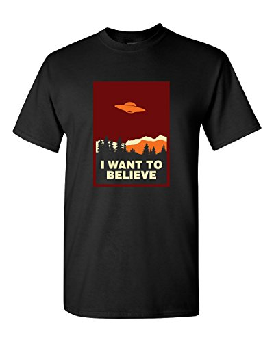 Thread Science I Want to Believe Alien UFO Files Flying Object Space Ship Stars Sky Universe Humor Extraterrestrial Funny Tee Adult Mens T-Shirt Black (X-Large) (Aliens Soft T-shirt)