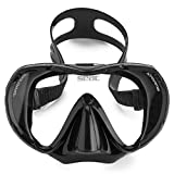 SEAC Snorkeling Package | Comfortable Adult Snorkel Set, Tempered Glass Anti-Fog Mask with Adjustable Strap Frameless Design, Dry Top Snorkel with Bottom Purge Valve + Carry on Travel Bag, All Black