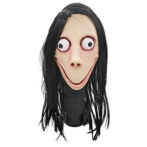 BestCoser Momo Mask Scary Halloween Costume with Wig -