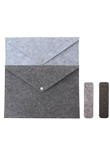 Felt Envelopes - OAIMYY Fabric Envelope A4 Paper Document File Folder Pocket Tablet Sleeve Bag for iPad Kit Pouch Briefcases with Snap Button Wallet Handbag+Pen Sleeve (Grey+Deep Grey)