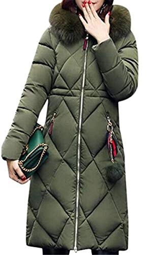 Sólidos Estilo Bolsillos Larga Con Invierno Mujer Pluma Unicolor Outwear Laterales Armgrün Manga Cremallera Largos Colores Parkas Hipster Especial OnP1q