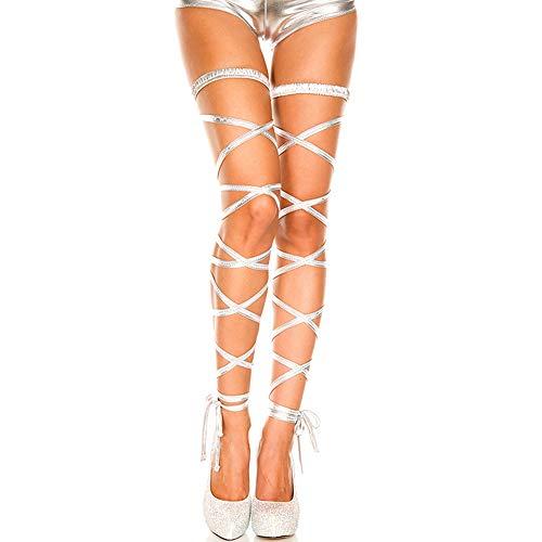 JUMUU Women's Sexy Shiny Metallic Leg Wraps for Raves, Dancing, Music Festivals,Club Wear (silver)