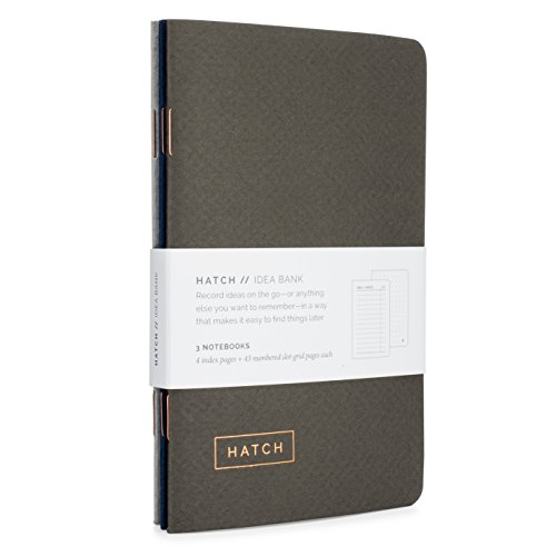 Pocket Notebook - Set of 3 Hatch Idea Banks with Index & Numbered Dot Grid Pages - Small idea notebooks, mini bullet journal, or field memo notepad - Perfect for taking notes - 3.5 x 5.5