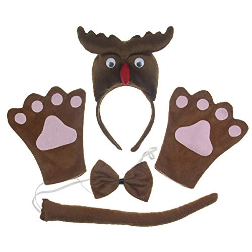 Owl 4pc Adult Costume Cosplay Headband Bowtie Tail Gloves]()