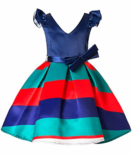 FKKFYY Little Big Girls Princess Ball Gowns Dresses For Wedding Party Holiday, 3-4 Years, V Neck Red - Holiday Party Suits Dresses
