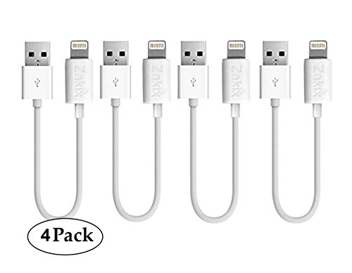 [4 Pack] 1ft / 8 Pin Zakix(TM) USB Charge & Sync Cable for for iPhone 7/7 Plus, iPhone, iPod and iPad (White)