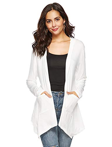 (Womens Draped Long Sleeve Open Front Hooded Cardigan with Pockets White XL)