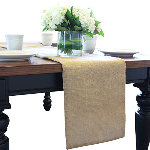 The Butterfly Decorator - Long Burlap Table Runner - LINED- Extra Long Jute Table Runners, Hessian, Weaved, Rustic, Country Table Runners - No Fray (12.5