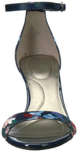 mujer floral Madia azul marino tacón Bandolino de Sandalia blanco para 7Hn6Xqw