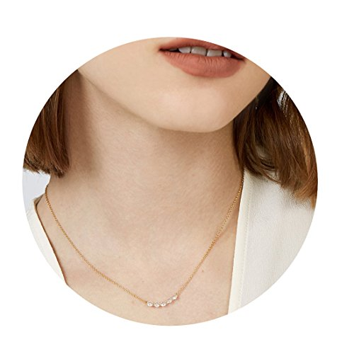 Mevecco Pearls Choker Necklace Delicate Handmade 18k Gold Plated Dainty CZ Turquoise Gold Choker Ring Deer Horn Pendant Necklace for Women NCK-5 - 18k Pearl Pendant Gold