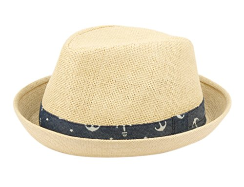 Fedora Hats for Boys, Girls, Toddlers, Kids, Nautical Theme, One Size w/Adjustable Drawstring, Natural -